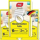 PIC Kleidermotten-Falle – Dreierpack = 6 Stück – Mittel für...