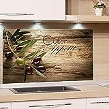 GRAZDesign Spritzschutz Glas für Küche, Herd Bild-Motiv Olivenzweig...